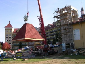 Raising the Roof at Bavarian Inn Lodge Water Slide Tower