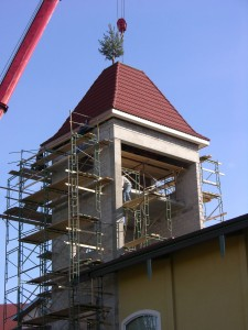 Raising the roof on the water-slide tower