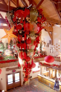 All dressed up for Chinese New Year: The lobby at the Bavarian Inn Lodge.