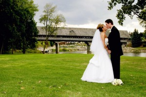 The scenic covered bridge is an ideal backdrop for a Bavarian Inn Lodge wedding.