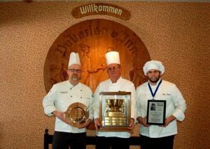 (L. to R.) Bavarian Inn Executive Chef Phil Fahrenbruch, Bavarian Inn Lodge Purchasing Manager Mark Brooks and Bavarian Inn Sous Chef Tyler Stark show off their culinary awards.
