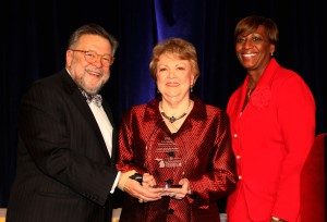 2015 HOTELIER OF THE YEAR - Judy Zehnder Keller recognized with the RD Musser Hotelier of the Year Award, the highest recognition provided by Michigan's lodging community. The award was presented at the Governor's Conference on Tourism at the Amway Grand Plaza, Grand Rapids, at the Stars of the Industry Banquet, before more than 1,000 industry peers. Pictured with Zehnder Keller are Ron Cichy, professor, Michigan State University School of Hospitality Business, and Shonda Johnson, area general manager, Detroit Renaissance Center.